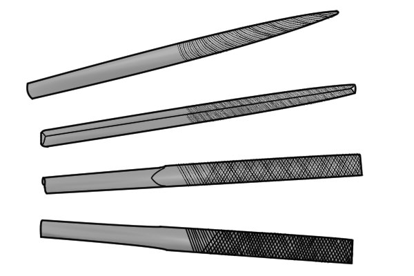 Single cut and double cut  mill files.  A single cut file has one set  of parallel rows of teeth whereas a double cut has two sets.