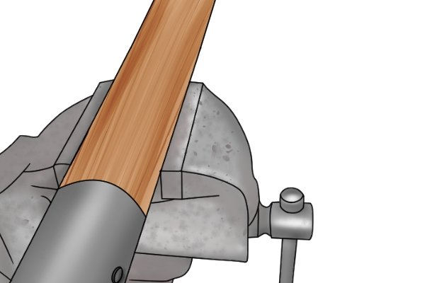 Hold the shovel in place by its handle in a bench vise if you have one