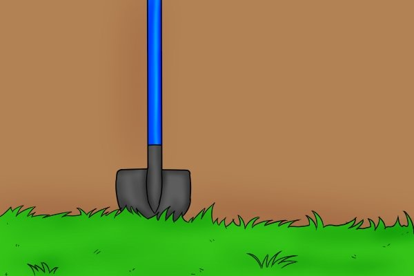 A shovel with a newly replaced shaft