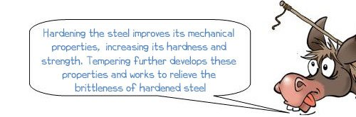 Wonkee Donkee says: 'Hardening the steel improves its mechanical properties, increasing its hardness and strength. Tempering further develops these properties and works to relieve the brittleness of hardened steel.'