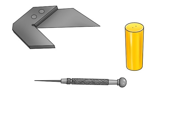 You will need: a centre square a scriber/ pencil/ pen round workpiece