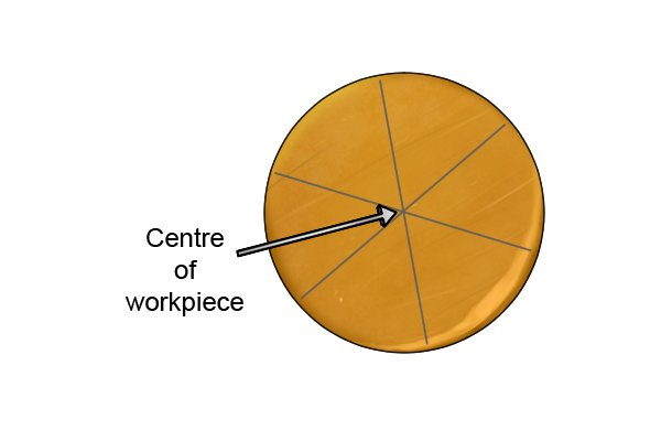 The exact centre of the workpiece is the point where the scribed lines intersect each other.