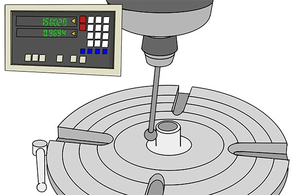 Step 7 Traverse the table in the x direction so that the ball probe moves closer to the opposite edge of the part.