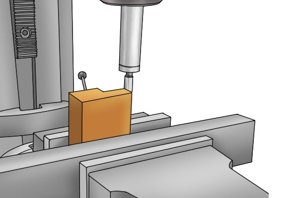 Edge finders are effective devices for locating the edges of parts in relation to the spindle of the milling machine or drill press. Using an edge finder will ensure that the spindle is in the correct position for machining features such as holes of grooves.
