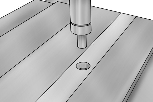 Both centre and edge finders can also be used to locate the centre of a hole in a part.