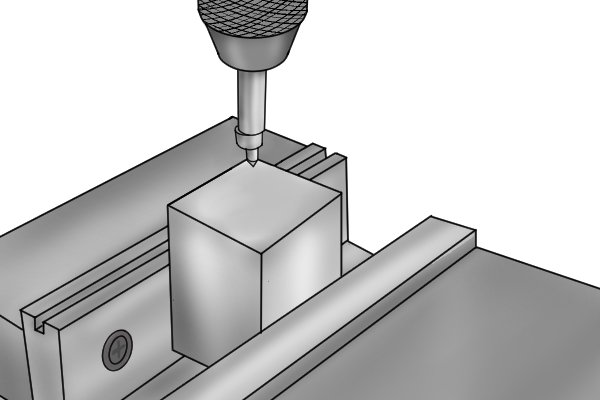 An edge finder is mounted in a collet, end mill holder or drill chuck and secured to the spindle of your machine. When the spindle of the machine is rotating (at between 500 and 1000 RPM), the tool is able to very accurately locate the edge of a part (to within 0.15mm or 0.005 inches).