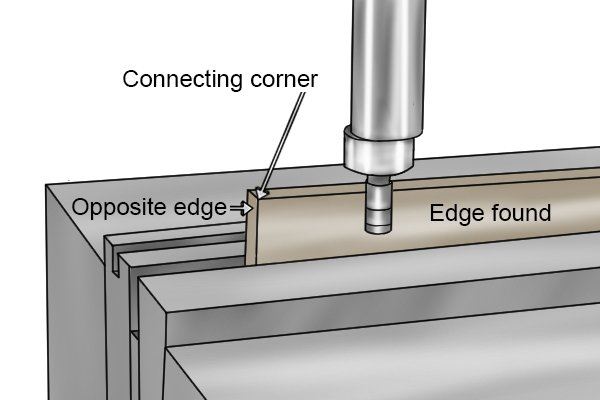 Repeat this procedure to locate the opposite edge. You can then use the corner connecting the two edges as a reference point from which to machine features such as holes or grooves.