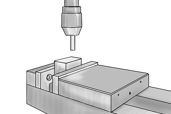Step 2 Clamp the workpiece in a vice underneath the spindle of the machine. Step 3 Mount the edge finder in a collet or drill chuck and secure the tool to the spindle of your machine. The centre of the shank will represent the centre of the spindle.