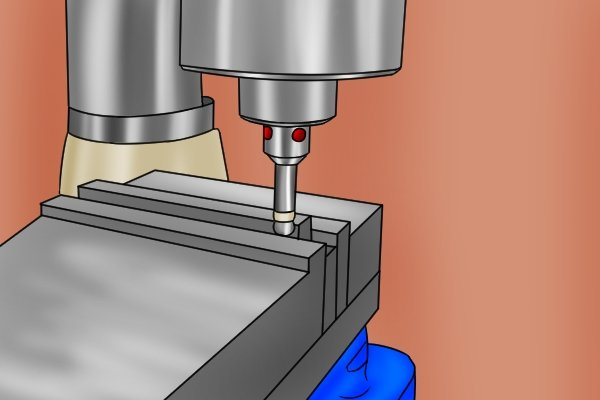 Some electronic edge finders work when an electrical circuit is completed. The circuit is completed through the workpiece, table and spindle of the machine it is used with (drill press or milling machine). Because of this, they can only work locate the edges of parts that are made out of an electrically conductive material (metal).