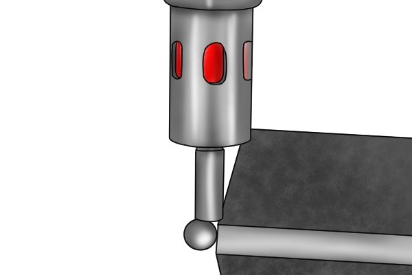 There are also more complex devices that have an internal 'tickler' mechanism which, when disturbed by the contact with the workpiece, closes a circuit internal to the edge finder. These edge finders do not depend on electrical conductivity through the machine and so can be used with parts made of non-conductive metals.