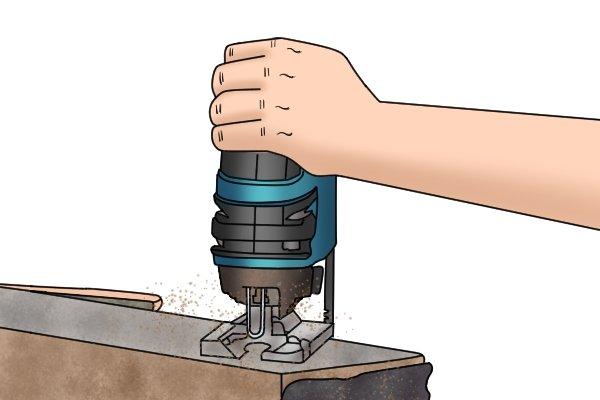 Jigsaw cutting through thick worktop