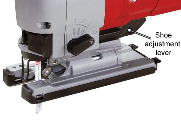 Jigsaw shoe adjustment lever