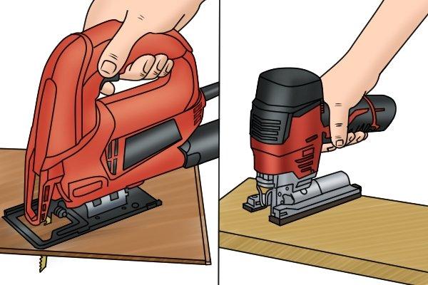Holding a jigsaw, barrel grip jigsaw, top handle jigsaw