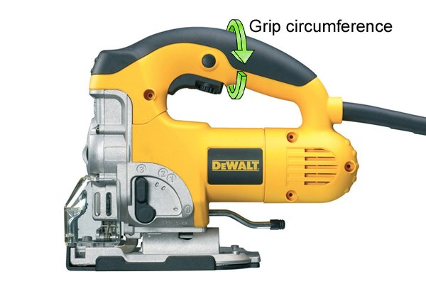 Grip circumference of top handle jigsaw