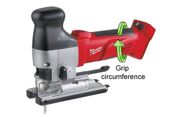 Grip circumference of barrel grip jigsaw