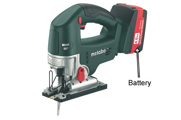 Cordless jigsaw with battery labelled