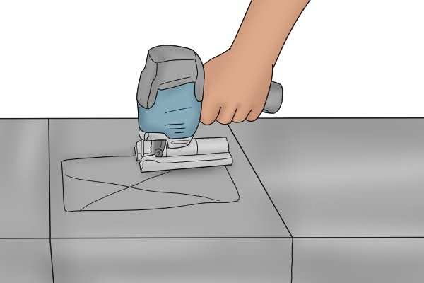 Cutting sheet metal with jigsaw