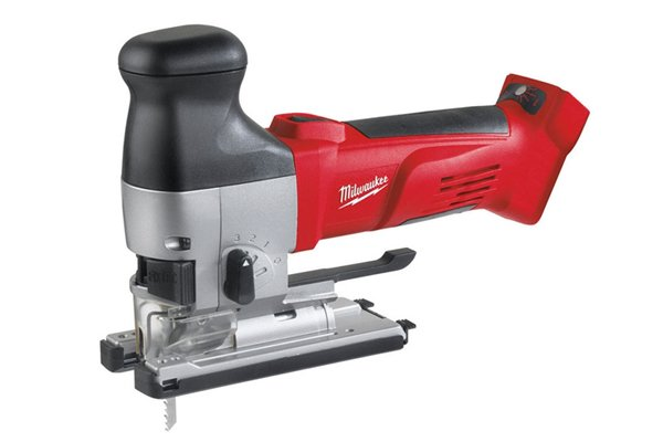 Cordless jigsaw with barrel-grip handle