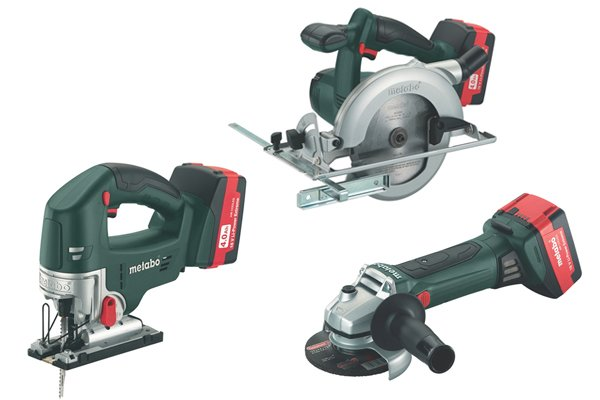 Cordless jigsaw, circular saw and angle grinder