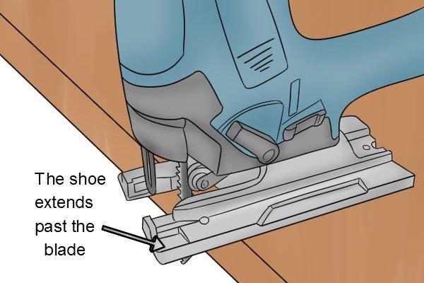 Jigsaw shoe extending past the blade, cutting wood with jigsaw