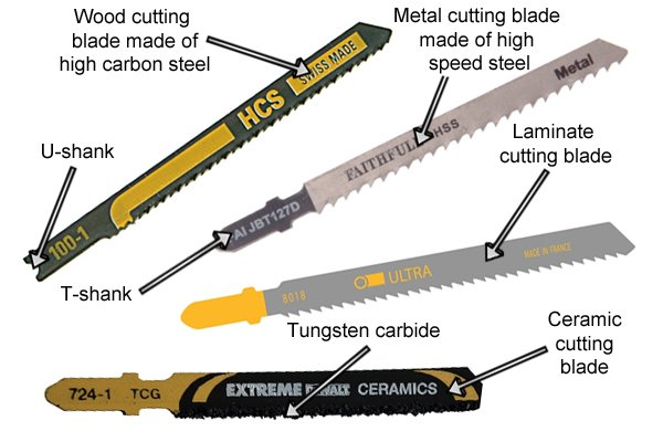 Jigsaw blades: T-shank, U-shank. Laminate cutting blade, ceramic blade, wood cutting blade, metal cutting blade, tungsten carbide blade