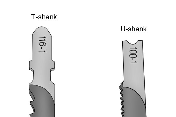 Types of jigsaw blades: T-shank blade and U-shank blade