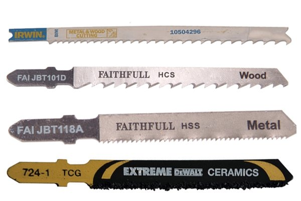 Types of jigsaw blade: high carbon steel, high speed steel, bi-metal, tungsten carbide