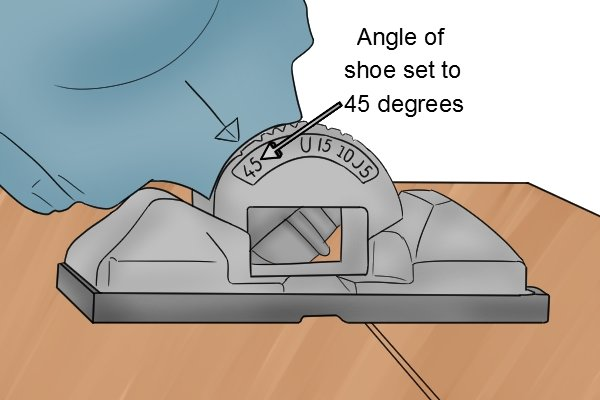 Jigsaw shoe set at 45 degrees, jigsaw baseplate at 45 degrees, jigsaw foot at 45 degrees