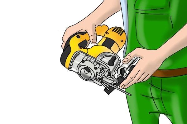 Adjusting angle of jigsaw baseplate, pivoting jigsaw shoe, making a bevel cut