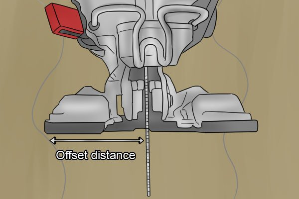 Jigsaw offset distance, distance between jigsaw blade and edge of shoe