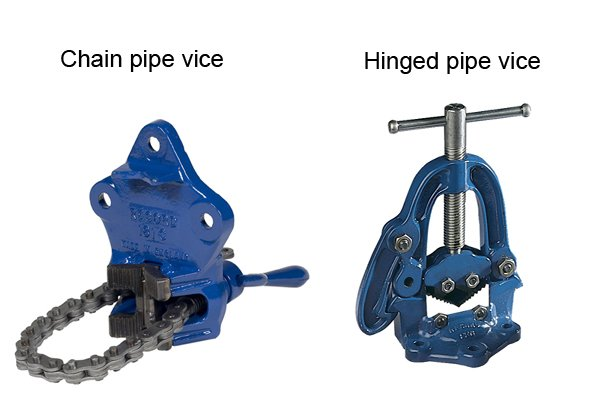 There are two types of pipe vice: chain pipe vices and hinged pipe vices. For more information see What is a chain pipe vice? and What is a hinged pipe vice?