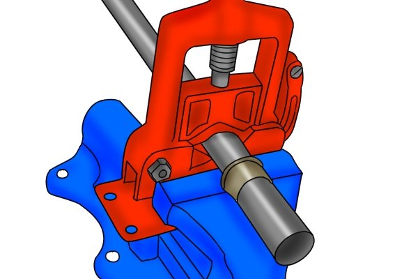 The jaws, usually made out of hardened tool steel, firmly clamp a length of pipe in position so that it can be worked on.