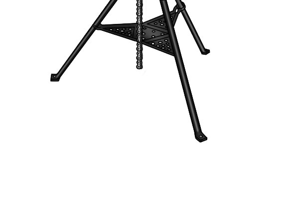 Many tripod stands have an integral tray that is very useful for holding additional tools used with a pipe vice, such as a pipe cutter or lubricating oil.