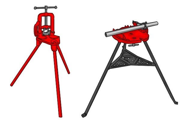 Tripod stands can be used with both chain pipe vices and hinged pipe vices.
