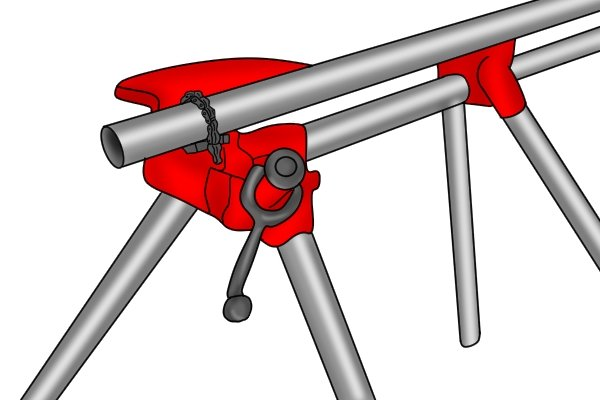 If you are working on a particularly long length of pipe, it is advised that you use an additional pipe rest alongside your tripod stand to support the rear end of the pipe. This will ensure that the weight of the pipe is distributed evenly and will prevent the stand from tipping over.