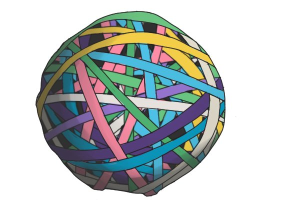 Rubber band ball, rubber, elastic bands, ball of elastic bands