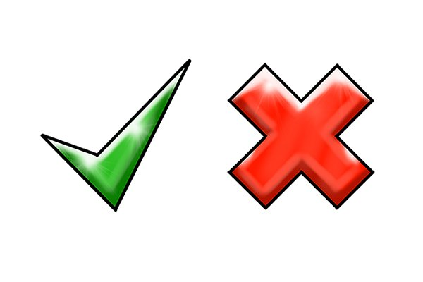 Tick and cross, green tick and red cross, advantages and disadvantages