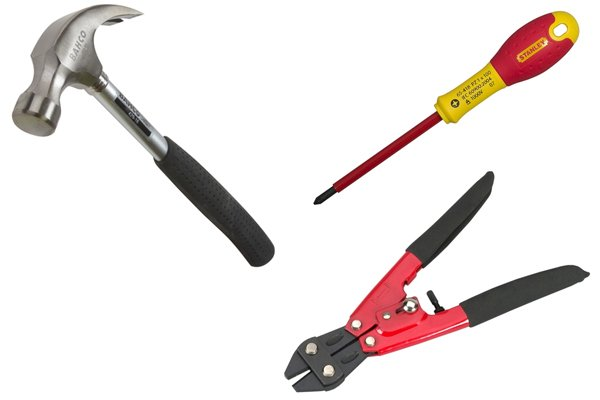 Hand tools with rubber handles: bolt cutters, hammer and screwdriver
