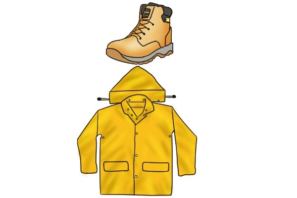Rubber waterproof clothing; waterproof jacket, work boots