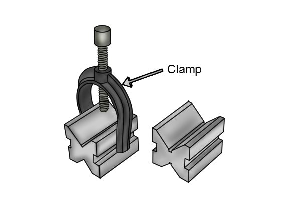 They are supplied with clamps so that parts can be fastened firmly to the vee blocks.