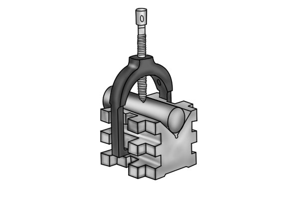 A vee block is a device usually used to secure round or cylindrical stock. The 'V' cradles the work and provides two points of contact between it and the workpiece.