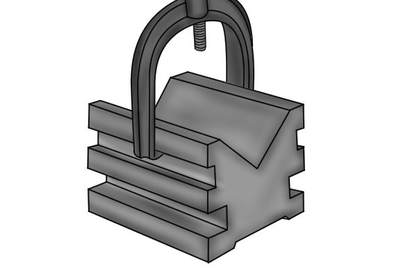 Most vee blocks come with screw clamps that are used to lock the workpiece securely in position.