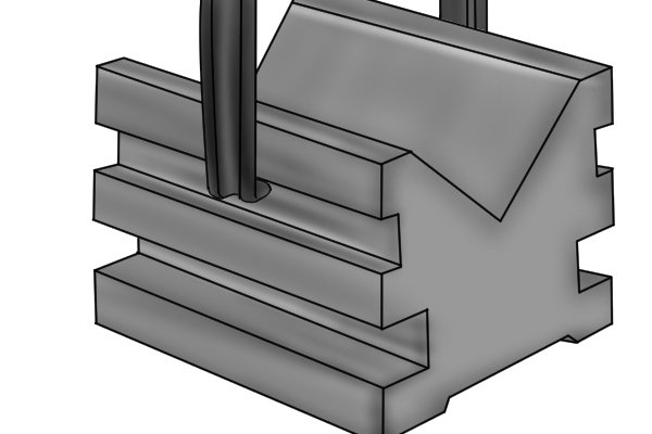 Some vee blocks have horizontal grooves along the side of the tool to accommodate the clamps used to secure parts.