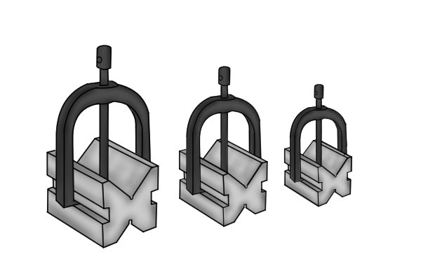 Vee blocks come in a variety of sizes for use with different-sized parts.