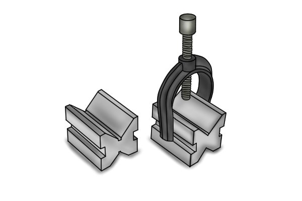Standard vee blocks are used to support cylindrical stock so that it can be machined accurately.