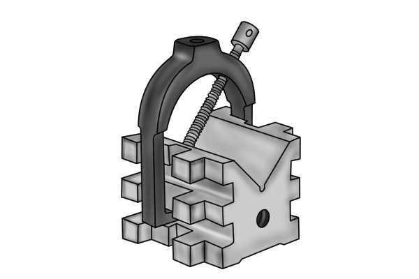 The clamps of these vee blocks have screw holes at both 90⁰ and 45⁰ to accommodate square and cylindrical parts.