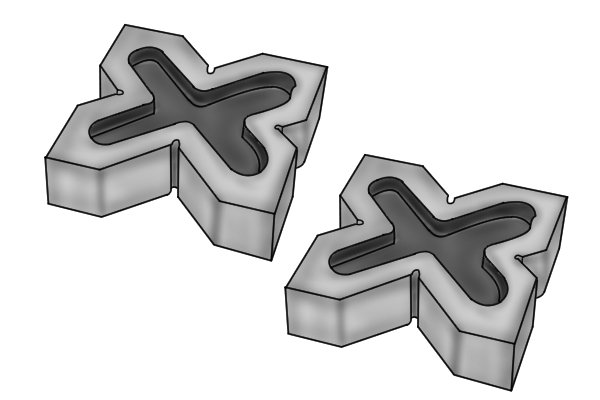 Four-way vee blocks have four differently sized vee channels for stock of varying sizes. As these blocks do not have clamping devices, some of their surfaces are magnetic to secure metal workpieces in place.