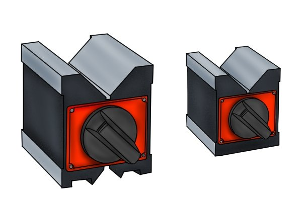 Instead of clamps, parts are held in place on magnetic vee blocks by a strong magnetic force. For more information, see What is a magnetic vee block?