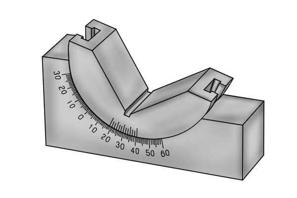 Tilting vee blocks (or adjustable angle gauges) are used to position square stock at an angle before it is machined. The angle of the block is adjusted depending upon the needs of the user and is firmly locked in position.