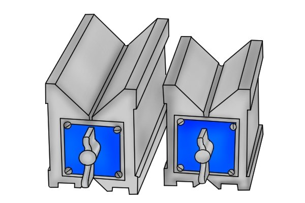 Magnetic vee blocks have internal electro-magnets that emit a magnetic charge and hold parts made out of ferrous metals.